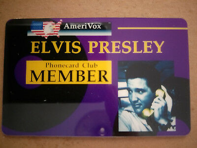 Mint AmeriVox Elvis Presley Phonecard Club Member Card