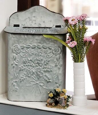 Vintage Style Metal Galvanized Metal Post Mail Box Shabby Chic Decor