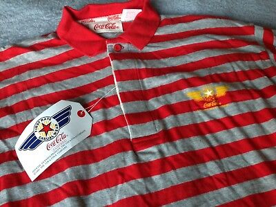 Coca Cola Rugby Shirt M Vintage 1985 NWT Striped First Rate Casual Wear