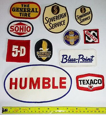 VINTAGE Embroidered Automotive Gasoline Patches #44 Lot of 11 CHRYSLER TEXACO