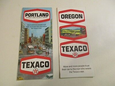 Lot of 2 Vintage 1969 Texaco Portland & Oregon Oil Gas Station Road Maps