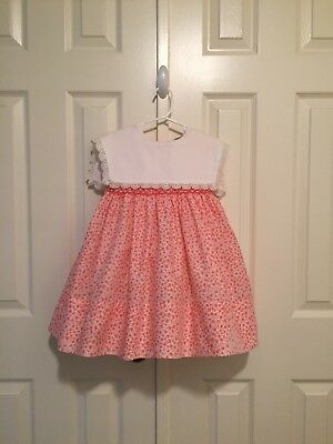 VTG - Polly Flinders Smocked Floral Dress w/White Collar - size 4T - Note Flaw
