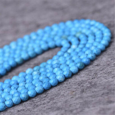 "1pcs 4MM Turquoise Faceted Gemstone Loose bead 15"" ELEMENTS Opaque DIY Styles"