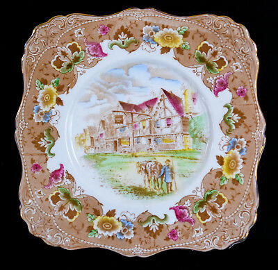 Vintage Tuscan Bone China Square Cake Plate Maid In England