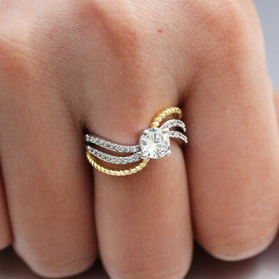 Infinity Women Two Tone 925 Silver Wedding Rings White Sapphire Ring Size 6-10
