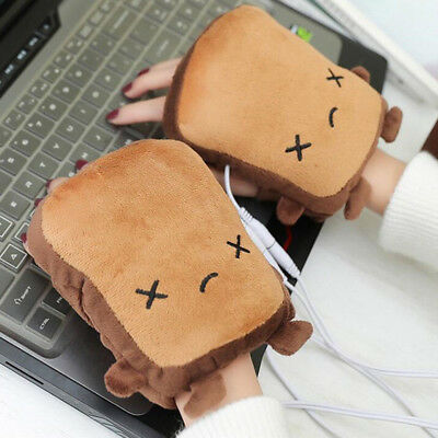 KD_ 1 Pair Cute Toast USB Hand Warmers USB Heating Gloves Half Wearable Finger