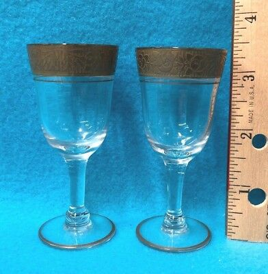 """Pair of Antique 3 1/2"""" Crystal Cordial Glasses, Gold Decorated Rims w/History"""