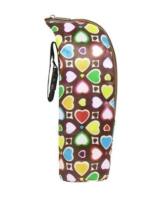 Brand New Insulated Thermal Hot Baby Bottle Zip Pouch Holder Bag Brown Hearts