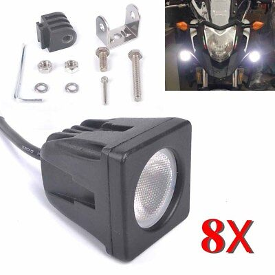 8PCS 10W Square CREE LED Work Light Back Up Reverse Off Road Lamps Flood Beam