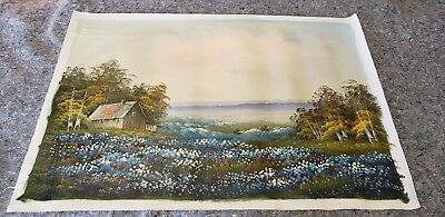 Awesome Country Cabin Landscape Painting on Canvas signed 24x36