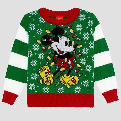 Toddler Boys Disney Mickey Green White Striped Ugly Christmas Holiday Sweater