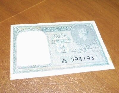 India, Government of. 1940 One Rupee Note - Very Nice