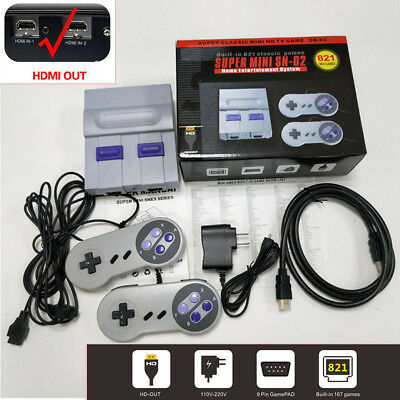 Mini Retro Game Console Entertainment HDMI Built-in 821 Super Nintendo Game