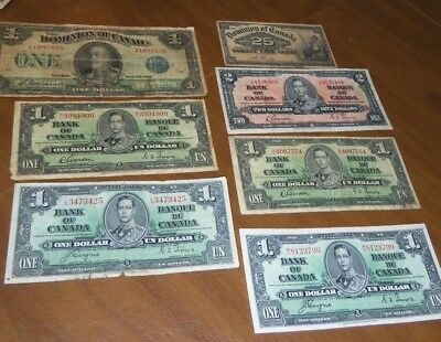 Lot of 7 very old Dominion of Canada/Bank of Canada Bank Notes