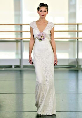 Claire Pettibone Yolanda  Lace Wedding Dress Gown  Street Size US 8,  Label 12