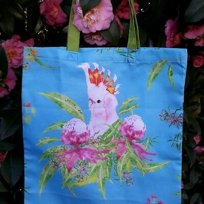 Cotton Tote Bag/Library bag with Australian Parrots and Waratah flowers.