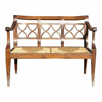 Vintage French Country Style Wood & Rush Seat Bench - Settee Made in Italy