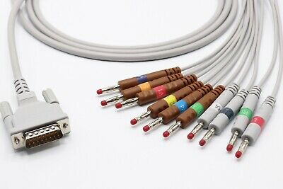 Schiller AT1, AT2 15 pin 10 Leads Banana EKG Cable 4.0 - Same Day Shipping