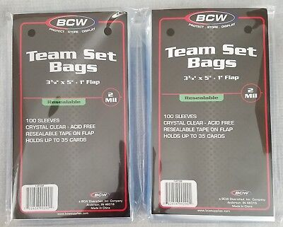 """200 (2 pack) BCW Resealable Team Set Bags - 3 3/8"""" x 5"""""""