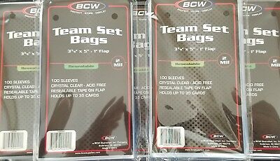 """500 (5 pack) BCW Resealable Team Set Bags - 3 3/8"""" x 5"""""""