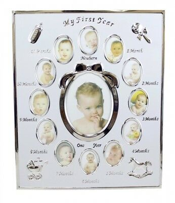 Pearhead My First Year Monthly Baby Photo Frame in Silver-tone. Tiny Ideas