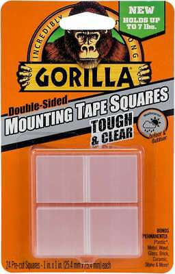 """Gorilla Double-Sided Mounting Tape Squares 1""""X1"""" 24/Pkg Clear 052427606723"""