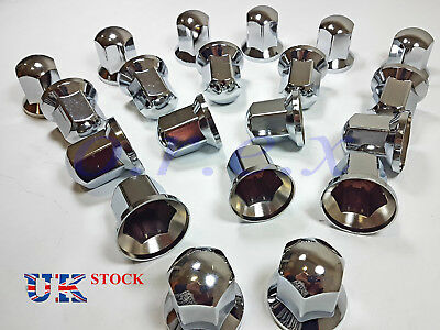 60x 33mm LONG Lux Plastic CHROME Wheel Nut Cover Cap Truck Scania Mercedes Volvo