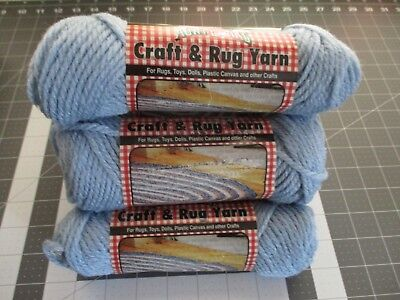 6 Skein Lot of Vintage Aunt Lydia's Craft & Rug Yarn, Antique Blue