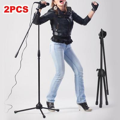 2X Adjustable Telescopic Microphone Mic Stand Holder Clamp 2 Clips Floor Mount