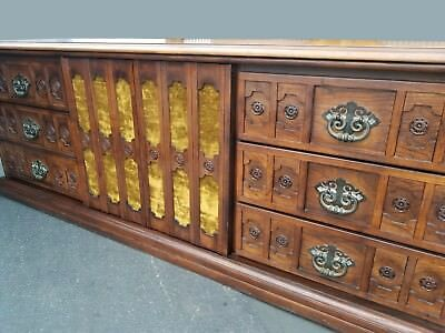 Vintage Spanish Style Ornate Triple Dresser ~ Interchangeable Velvet Panels 1968