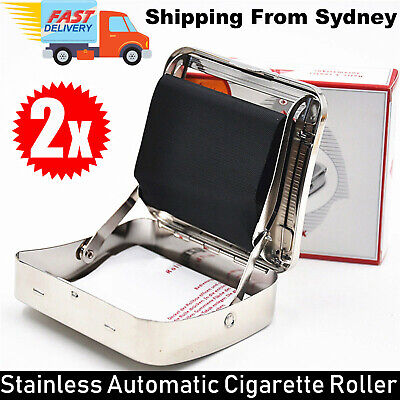 2x Stainless Automatic Cigarette Tobacco Roller Roll Rolling Machine Box Case