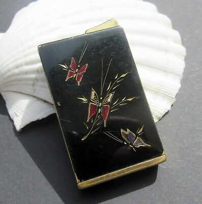 Vintage pocket lacquer enamel perfume atomizer lighter shape