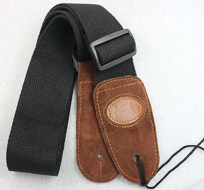 Black Adjustable Leather ends Guitar Strap For Electric Acoustic Guitar Bass