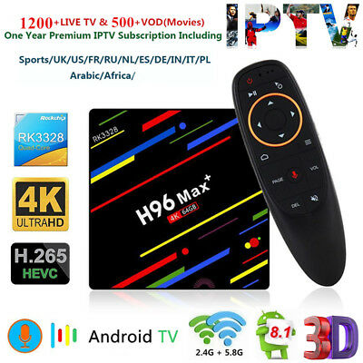 H96 Max+ TV Box Quad Core Android 8.1 4K 64G WiFi+Voice Control+1 Year IPTV Gift