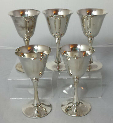 Set 5 vintage silver plated Spanish sherry / cordial goblets branded to Jonelle