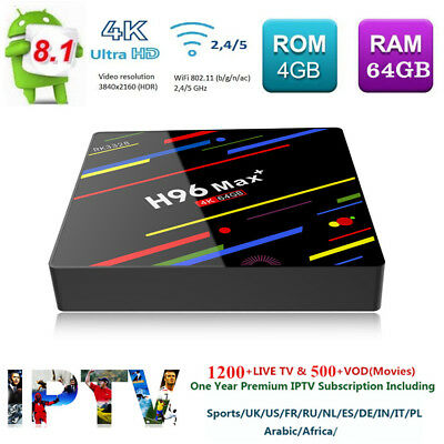 H96 Max+ WiFi TV Box Android 8.1 Quad Core 4K 4+64GB HDR Media +1 Year IPTV Gift