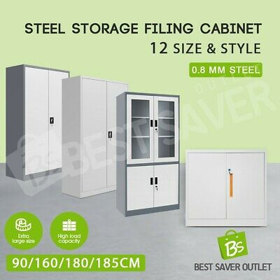 Metal Steel Cabinet Filing File Lockable Stationary Storage Cupboard Home Office