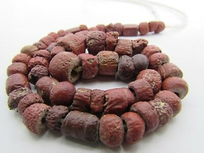 Ancient Roman Glass rare tiny beads of string in brown red colors Afghanistan