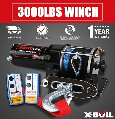 X-BULL 3000LBS /1361KGS Electric Winch Synthetic Rope 12V 10M Wireless ATV 4WD