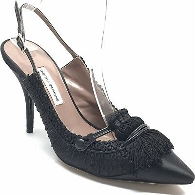 ff1244e3e520 TABITHA SIMMONS Black Satin Tassel Slingback Point Toe Pump Heel Shoes 37 US  7