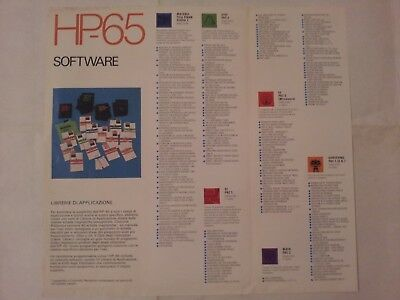 Brochure pubblicitaria Hewlett-Packard calcolatrice HP 65 software '75 originale