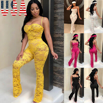Women Ladies Clubwear Lace Playsuit Bodycon Party Jumpsuit Romper Trousers US