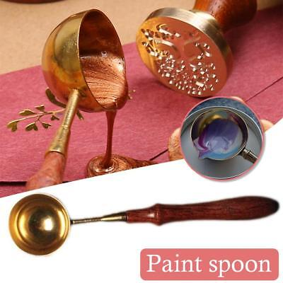 Wooden Sealing Wax Melting Stainless Steel Paint Spoon Gold-plated Wax Spoons UK