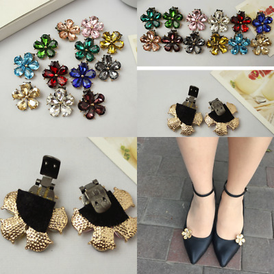A Pair Rhinestone Crystal Shoe Clips Flower Shoe Charms DIY Accessories