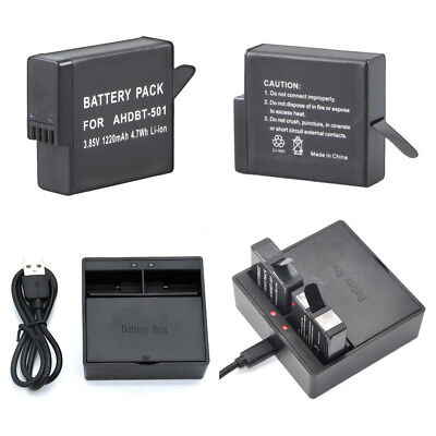 For GoPro Hero5 Battery / USB charger AHDBT-501 2018 Hero6 GoPro Hero7 Camera