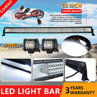 Curved 50inch 3000W CREE LED Light Bar Quad Row 4WD Work Fog Spot Flood Combo
