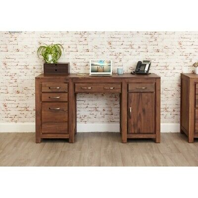Grand Walnut Wood Furniture Large Home Study Desktop Computer Desk Twin Pedestal