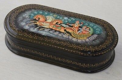 Vintage Lacquer Russian Traditional Wood Hand Painted Wooden Jewelry Box Troika
