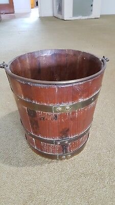 Antique Copper or Brass and Wooden  Bucket/Planter Holder