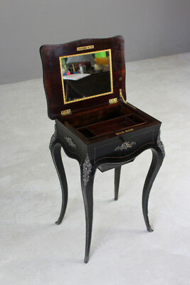 Antique French Ebonised Brass Inlaid Work Table Side Occasional